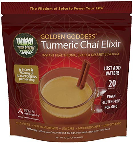 Golden Goddess Turmeric Chai: Delicious Elixir for Adrenal & Thyroid Support, Stress Relief, Cortisol Manager, 750mg KSM-66 Ashwagandha + Siberian Ginseng; 1,260mg Turmeric & Anti-inflammatory Spices