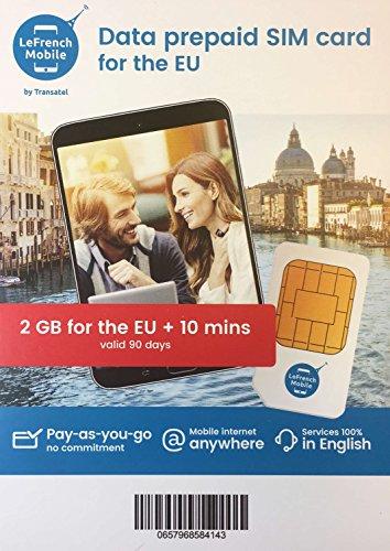 フランス LeFrench・プリペイドSIMカード (データ&通話(EU各国・2GB・90日間)) [並行輸入品]