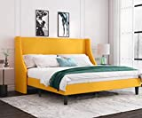 Allewie King Size Modern Platform Bed Frame with Deluxe Wingback/ Upholstered Bed Frame with Headboard / Wood Slat Support / Mattress Foundation / Light Yellow(King)