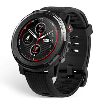 """Amazfit Stratos 3 Sports Smartwatch Powered by FirstBeat, 1.34"""" Full Round Display, 80-Sports Modes, Standalone Music Playback, GPS, Bluetooth, Water Resistant, Black"""
