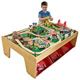KidKraft Waterfall Mountain Wooden Train Set & Table with 120 Pieces, 3 Storage Bins ,Gift for Ages 3+