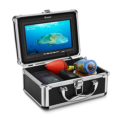 Eyoyo Underwater Fishing Camera Video DVR Recording Fish Finder 7 Inch LCD Monitor HD 1000 TVL Waterproof Camera Adjustable Infrared & White Light for Ice Lake Sea Boat Kayak Fishing 30m(98ft) Cable