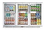 KoolMore 3 Door Stainless Steel Back Bar Cooler Counter Height Glass Door Refrigerator with LED Lighting - 11 cu.ft (BC-3DSW-SS)