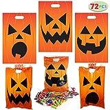 72 Pieces Halloween Jack O Lantern Trick Or Treat Bags for Trick-or-Treating, Halloween Party Favors, Halloween Snacks, Event Party Supplies, Halloween Goodie Bags