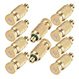 Brass Misting Nozzle, 10 Pack High Pressure Spray Misting Nozzle 10/24 UNC Outdoor Anti-drip Fogging Spray Head Misting System Nozzle for Landscaping for Outdoor Cooling System ( 0.012 Orifice )