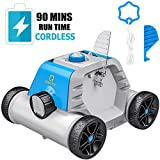OT QOMOTOP Robotic Pool Cleaner, Rechargeable Wireless Design, 90 Mins Working Time, IPX8 Waterproof, Power Detection Technology, Built-in Water Sensor Technology