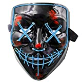 heytech LED Mask Halloween Scary Mask Cosplay LED Costume Mask Light up for Halloween Festival Party(Blue)