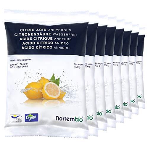 Nortembio Acido Citrico 4 kg (8x500g). Polvere Anidro, 100% Puro. per Produzione Biologica. Sviluppato in Italia.