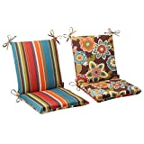 Pillow Perfect Outdoor/Indoor Annie Chocolate/Westport Teal Square Corner Chair Cushion, 36.5' x 18', Reversible