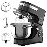 Stand Mixer, KINFAI by whall 12-Speed Tilt-Head Kitchen Mixer, Electric Food Mixer with Dough Hook/Wire Whip/Beater, 4.3QT Stainless Steel Bowl, for Baking Bread,Cakes,Cookie,Pizza,Egg,Salad (Black)