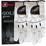 2 Pack Golf Gloves for Men - Premium Cabretta Leather Glove Left Hand (Natural White (Worn on Left...