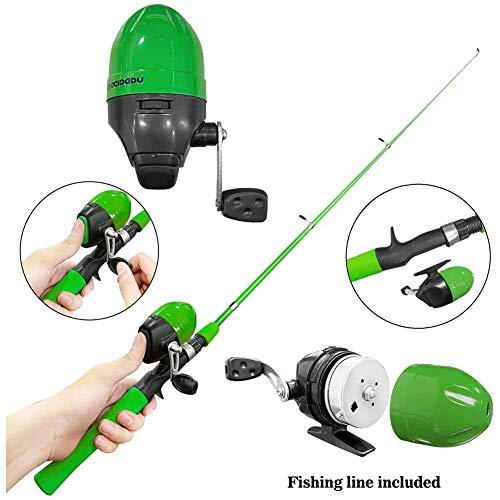 N /A - Set di mulinelli telescopici per canna da pesca, con mulinello da pesca, ami e accessori per la pesca, per ragazzi e ragazze, Verde