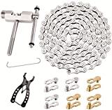 Multi-Function Bike Mechanic Repair Kit - Chain Breaker and Chain Checker Include 3 Pairs Bicycle Missing Link for 6, 7, 8 Speed Chain, Speed Bike Chain 1/2 x 3/32 Inch Links,Reusable