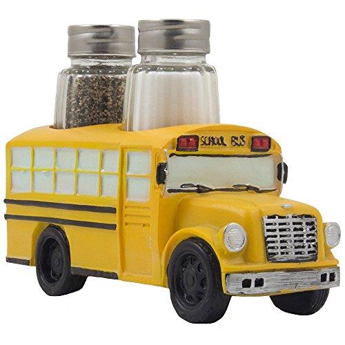 Decorative Model School Bus Glass Salt and Pepper Shaker Set...
