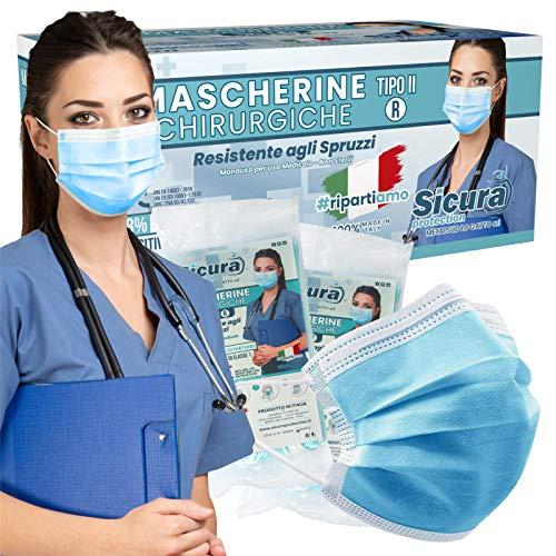 50 Mascherine CHIRURGICHE per Adulti Certificate CE Tipo IIR BFE ≥ 98% 3 Strati Prodotte in Italia - Mascherina Italiana monouso con elastici e nasello regolabile - 5 confezioni da 10 [50 Pezzi]