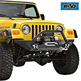 EAG Steel Front Bumper with Winch Plate Black Textured Fit for 87-06 Jeep Wrangler TJ YJ