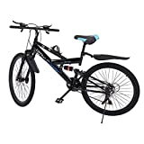 iCJJL Mountain Bikes High Carbon Steel Folding Outroad Full Suspension MTB Dual Disc Brake Lightweight and Durable City Riding Travel Go Working Mountain Cycling for Men Women (Black 26 in) (Black)