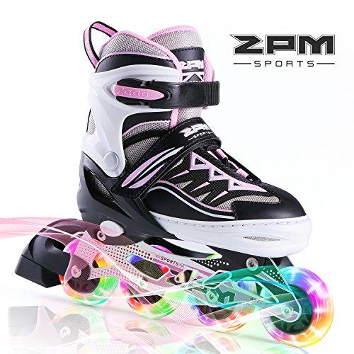 2PM SPORTS Cytia Inliner für Kinder Verstellbar, Led Inline Skates Mädchen,Rollschuhe leuchten für Damen/Mädchen/Herren - Pink S(28-31EU)