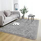 Rostyle Super Soft Fluffy Area Rugs for Bedroom Living Room Shaggy Floor Carpets Shag Christmas Rug for Girls Boys Furry Home Decorative Rugs, 4 ft x 5.9 ft, Grey