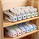 NYALKARAN Shoe Slots Organizer Space Saver Double Deck Shoe Rack Adjustable Shoe Slots for Closet Organization (Pack of 10)