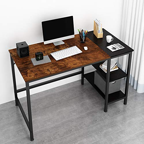 JOISCOPE Home Office Computer Desk,Small Study Writing Desk with Wooden Storage Shelf,2-Tier Industrial Morden Laptop Table with Splice Board,47 inches(Vintage Oak Finish)