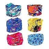 ZEWOO 6 Stück/Packung gedruckt Bandanas Multifunktionstuch Rohr Kopfbedeckungen Bandana Schal Elastische Halstücher für Yoga, Wandern, Reiten, Motorradfahren (Set 1)