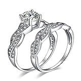 JewelryPalace Anillo Infinito 1.5ct de Compromiso Conjuntos Zirconia Cúbica Aniversario Promesa Banda Boda Nupcial Plata de ley 925