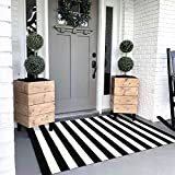 Seavish Black and White Striped Rug, 4'x5.9' Indoor Outdoor Patio Rugs Handmade Woven Farmhouse Rug, Machine Washable Stripe Carpet Cotton Rug for Living Room/Entry Way/Laundry