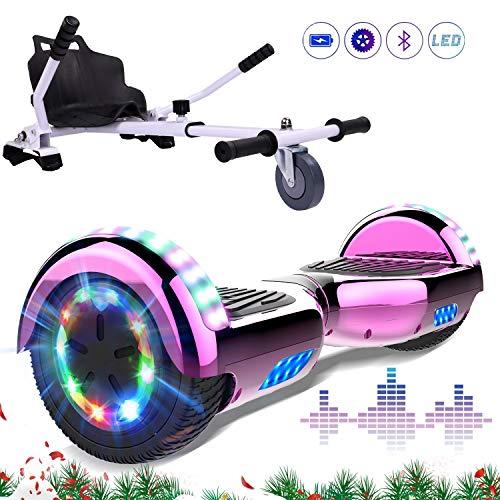 Hoverboards 6,5 Pollici con Hoverkart Scooter Elettrico Luci a LED con Altoparlante Bluetooth Ruota Colorata