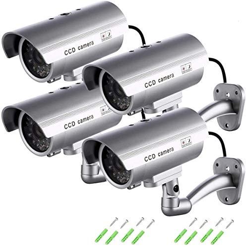 Telecamera Finta Videocamere di Sorveglianza Dummy Camera con LED lampeggiante IR Simulazione Telecamera Realistico finte CCTV Impermeabile per interno, esterno di SeeKool (4 packs)