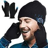 Lenski Homme Bonnet Bluetooth V5.0 avec Gants Tactiles, Idee Cadeau Homme Noel Original, Doux, pour faire du sport et de la marche, Unisexe, Noir, Taille Unique