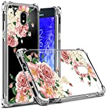 Osophter Compatible with Samsung Galaxy J3 2018 Flower Case,Samsung J3 Star Floral Case J3 Achieve/J3 Orbit Case Flexible TPU Rubber Soft Silicone Galaxy J3 V 3rd (Big Rose)