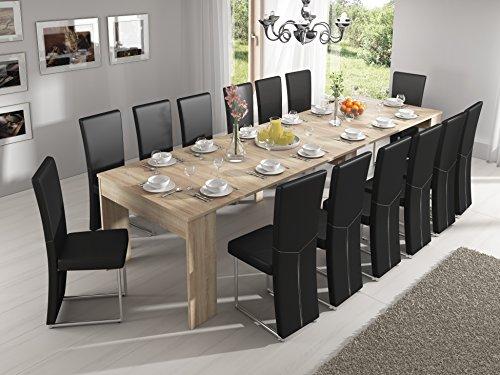 Home Innovation-Tavolo da pranzo estendibile fino a 301cm, rovere chiaro, dimensioni chiuso: 90x 49x...