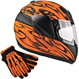 Typhoon Youth Kids Full Face Helmet with Shield & Gloves Combo Motorcycle Street Dirt Bike - Matte Orange (Large)