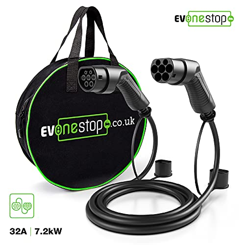 EV/Cable de Carga para vehículos eléctricos | Tipo 2 a Tipo 2 | 16/32 amperios | 5/10 Metros | Estuche de Transporte Gratuito (32 amperios / 5 Metros)