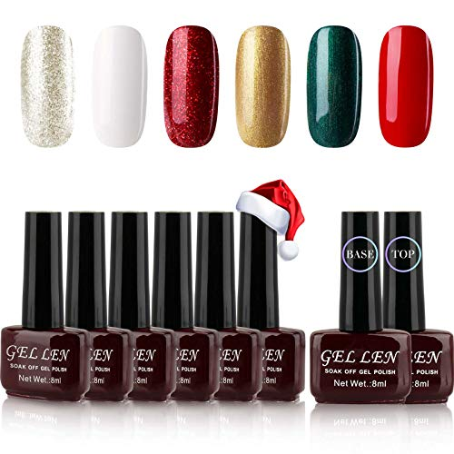 Gellen Gel Nail Polish Kit 6 Colors With Top Coat Base Coat - Christmas Colors Nail Gel Collection Home Gel Manicure Set