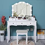 IWELL Vanity Table Set with 10 LED Bulbs & Large Tri-Folding Mirror, 5 Drawers, Makeup Dressing Vanity Table with Cushioned Stool, 3 DIY Dividers, Dresser Desk for Bedroom, Gift for Women, Girl, White