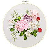 Bageek Kit de démarrage de broderie Kit de broderie de ruban de soie floral...