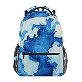 RUNE HALI50ME School Backpack, Map Watercolor Print Waterproof Lightweight Lage Bag for School Travel Women Men Girl Boy