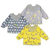 Lictin Baby Lätzchen mit Ärmeln 3 Set Baumwolle Lätzchen Wasserdicht Baby Lätzchen Bibs Set für 2-5 Jahre Alt