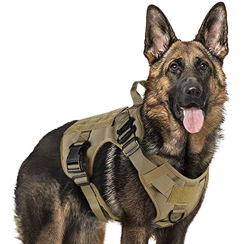 """rabbitgoo Tactical Dog Harness Vest Large with Handle, Military Dog Harness Working Dog Vest with MOLLE & Loop Panels, No-Pull Adjustable Training Vest, Tan, Large Size, Chest (31.5-41.3"""")"""