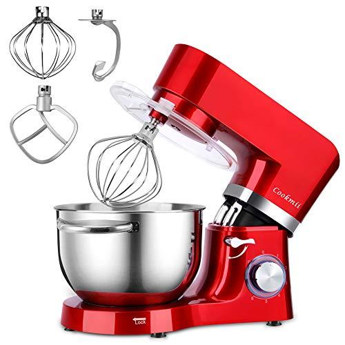 Cookmii Robot Pâtissier Silencieux Professionnel 1500W Robot Pétrin Pétrisseur Pâtisserie Solide Robot de Cuisine Multifonctions avec Bol 5.5L Batteur Électrique,Fouet,Crochet, Rouge