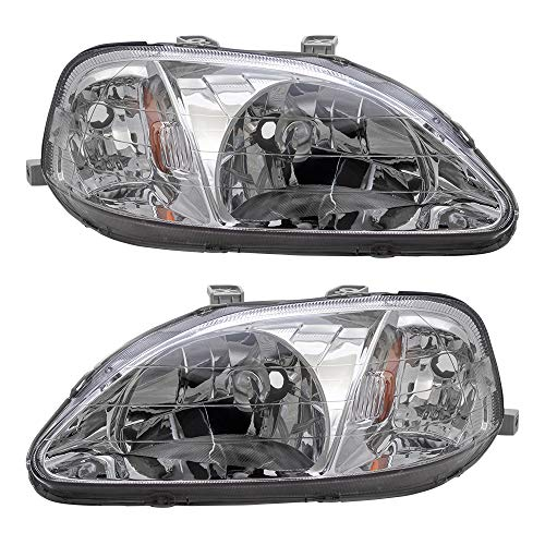 Brock Replacement Driver and Passenger Halogen Headlights Lens Compatible with 1999-2000 Civic 33151S01A02 33101S01A02