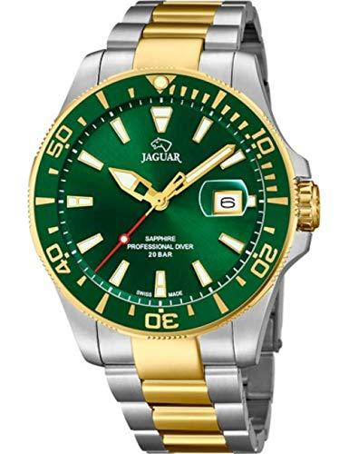 JAGUAR J863/B Executive Collection Herrenuhr, 43,5 mm, grünes Gehäuse mit zweifarbigem Stahlband