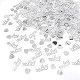 JZK 4 Pack en Plastique Just Married Coeur argenté confettis de Mariage...