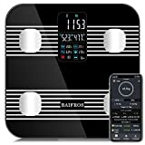Smart Bluetooth Body Fat Scale, BAIFROS Large Display Digital Bathroom Weight Scale Body Composition Heart Rate,Heart Index & Body Balance with Free APP(396Lb/180Kg)