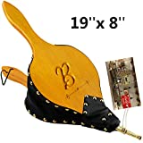 TJ.MOREE Fireplace Bellows 19'x 8' Custom Large Wood Fire Blower with Hanging Strap, Long Handle, Metal Nozzle, Great Tool for Fireplace, Fire Pit, Wood Stove, BBQ, Outdoor Camping - Initial B