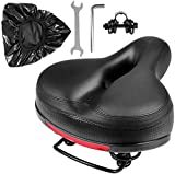 Puroma Bicycle Saddle Dual Spring Designed Suspension Shock Absorbing, Leather Bike Seat Pad Mounting Wrench Waterproof Protection Bike Seat Cover (Black)