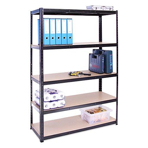 Scaffale per Garage Scaffalatura 180cm x 120cm x 45cm Nero 5 Ripiani (175Kg a ripiano) Capacit...