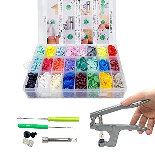 SUNTATOP T5 Bottoni a Pressione in Resina + Pinze a Scatto, 24 Colori, Pinza per Bottoni T3 T5 T8